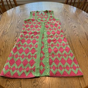 Vintage Pink Green Argyle Long Vest '60's-'70's